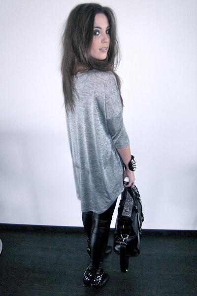 black studded Zara boots - silver oversized H&M sweater - black Zara bag