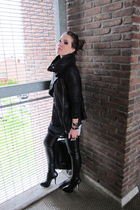 black Topshop boots - leather Muubaa jacket - black leather look Topshop pants
