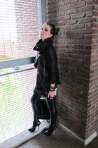 black Topshop boots - leather Muubaa jacket - black leather look Topshop pants