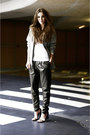 Cape-heels-alexander-wang-heels-leather-harem-romwe-pants-top