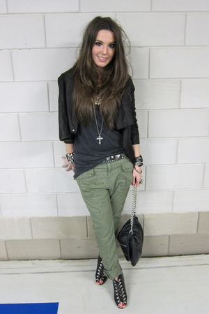 black leather Muubaa jacket - black lace up H&M boots - green Zara pants