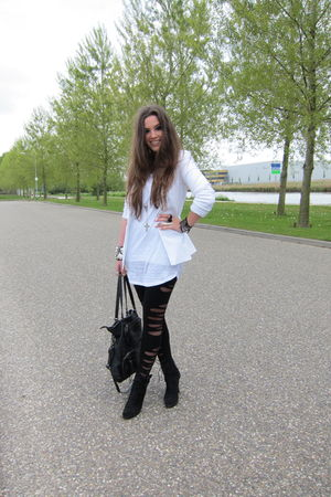 black Zara boots - black asos leggings - white Zara blazer - white H&M top