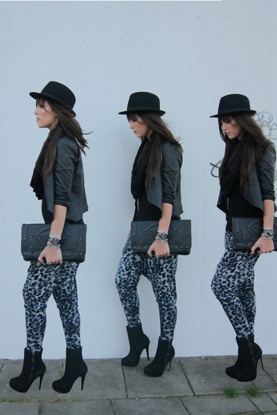 blue Topshop pants - black Topshop boots - black clutch H&M bag
