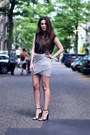Black-cape-heels-alexander-wang-heels-heather-gray-wrap-skirt-skirt