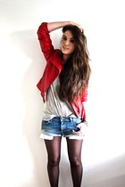 red leather biker Zara jacket - light blue denim Zara shorts - heather gray H&M