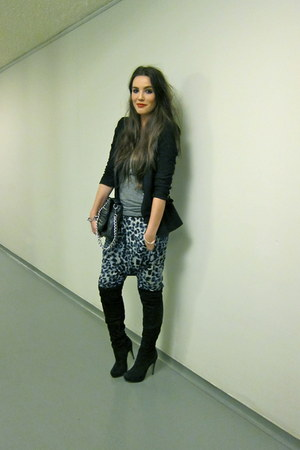 black overknee Topshop boots - black Zara blazer