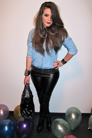black Zara belt - black Topshop pants - black Zara boots - blue Zara blouse