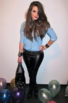black Zara belt - black Topshop pants - black Zara boots - blue Zara blouse