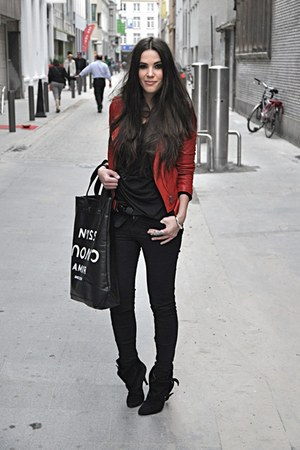 black Givenchy boots - black Cheap Monday jeans - red Zara jacket