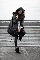 olive green parka H&M Trend coat - black buckle Givenchy boots