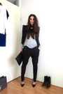 black leather Vero Moda jacket - black asos bag - heather gray H&M top