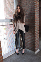 black leather Muubaa pants - light pink H&M jumper