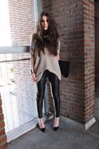 black leather Muubaa pants - light pink H&M jumper