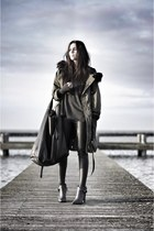 leather tote bag - charcoal gray boots - dark khaki parka coat