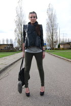 forest green 7forallmankind pants - black asos jacket - heather gray Hudson t-sh