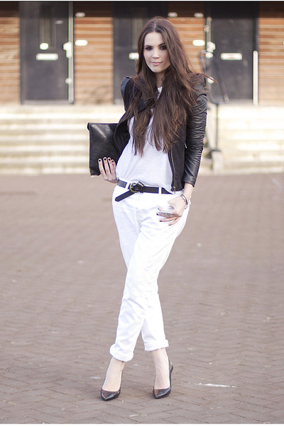 white white Hudson jeans - black leather Very by Vero Moda jacket