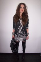 black Zara jacket - black Zara boots - gray H&M dress - black Zara