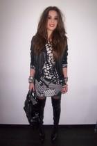 black Zara jacket - black Zara boots - gray H&M dress - black Zara