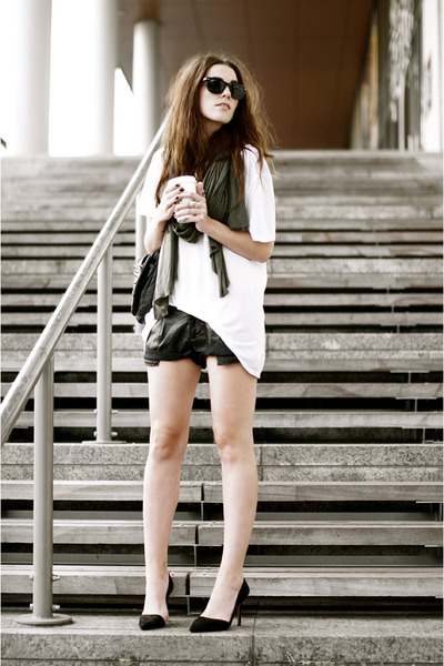 black leather look Zara shorts - white t by alexander wang t-shirt