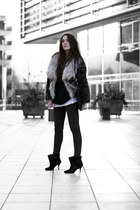 heather gray faux fur coat - black buckle ankle Givenchy boots - black jeans