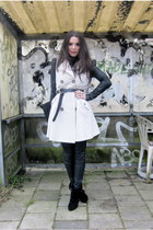 beige trench Primark coat - black Givenchy boots - black leather Muubaa pants