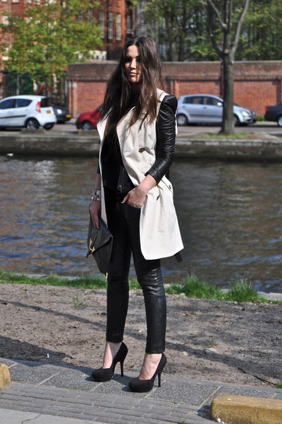 black leather Very by Vero Moda jacket - off white Primark coat
