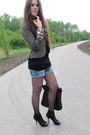 Green-h-m-jacket-black-zara-shoes-blue-zara-shorts