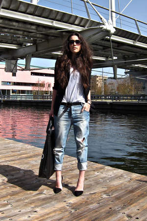 black Zara blazer - light blue boyfriend jeans Ichi jeans