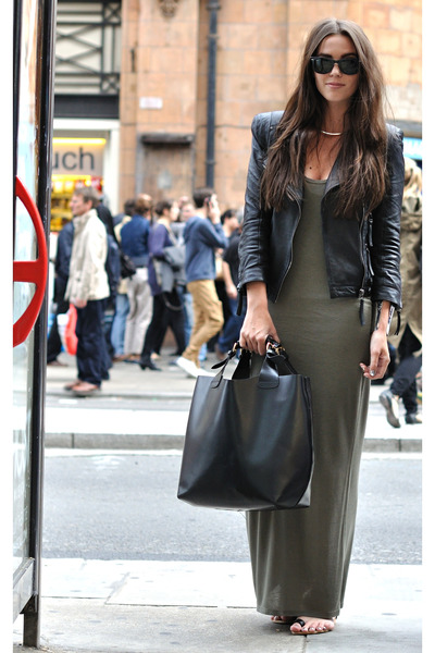 leather Zara jacket - maxi Oasis dress - Zara sandals