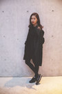 Dark-gray-bodycon-h-m-dress-black-coat-agnesb-coat
