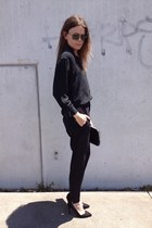black silk vintage skirt - black chiffon vintage pants - black Zara heels