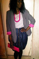 silver Primark jacket - navy Primark skirt - hot pink accessories - silver 3 sui
