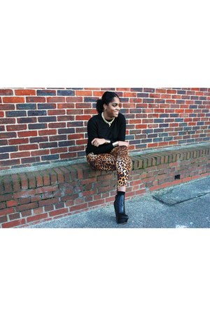 leather asos boots - leopard print Zara pants