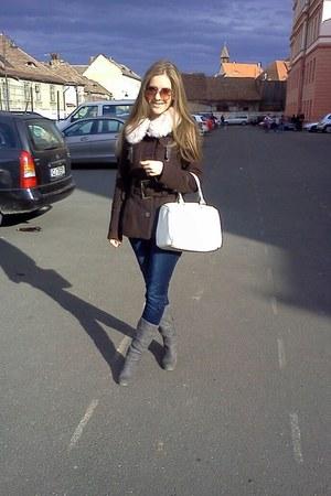 Zara jeans - reno boots - Zara jacket - H&M scarf - New Yorker bag