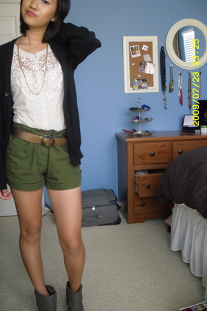 H&M blouse - H&M shorts - Urban Outfitters boots - Target sweater - Target acces