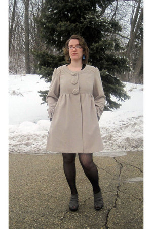 beige modcloth coat - sky blue vintage earrings - charcoal gray vera wang heels