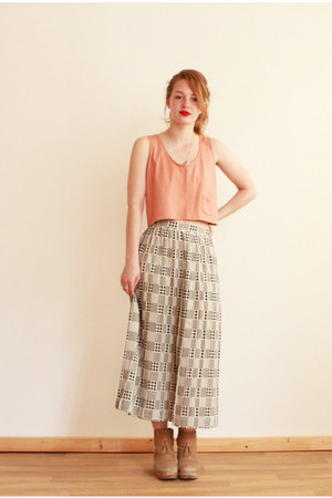 hounds-tooth Caesar Pony vintage skirt - cropped tank Caesar Pony vintage top