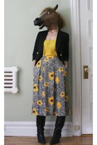 black  blazer - yellow  top - yellow garey petites skirt - black  boots