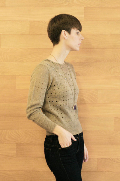 tan crochet vintage etsy sweater
