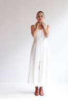 white two layers Joseph Ribkoff dress - tawny leather sandals