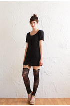 black norwegian wood leggings - black cotton linen Caesar Pony vintage dress
