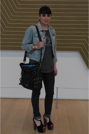 deep purple velvet Jessica Simpson heels - navy Forever 21 jeans
