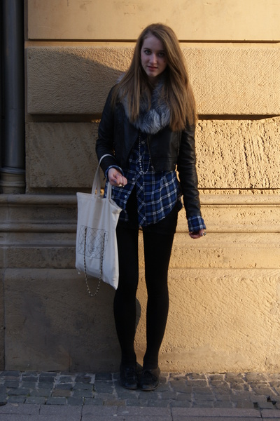 gray H&M scarf - black H&M jacket - blue H&M shirt - black H&M dress - white Top