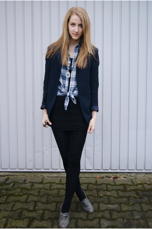 blue vintage from Search & Destroy blazer - blue H&M shirt - black H&M dress - g