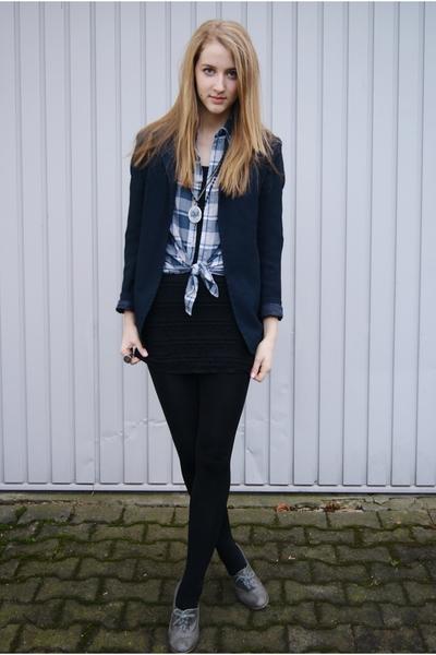 blue vintage from Search & Destroy blazer - blue H&M shirt - black H&M dress - g