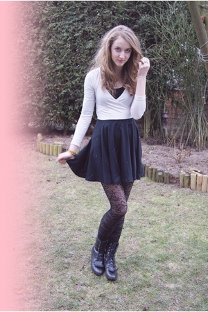black Urban Outfitters dress - black H&M tights - black Urban Outfitters boots