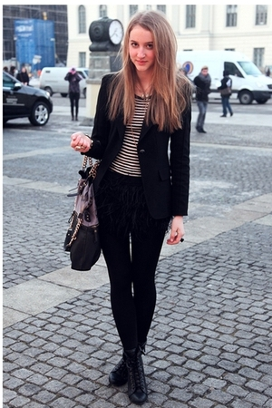 black Zara blazer - black Zara shirt - black Zara skirt - black Forever 21 shoes