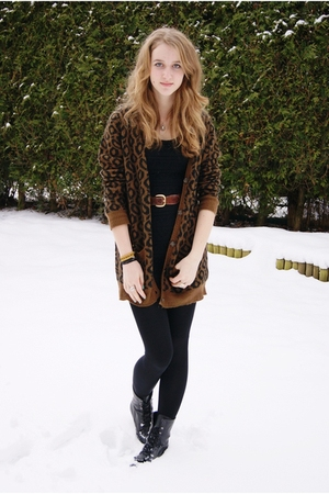 brown Zara cardigan - black H&amp;M dress - black we who see boots - brown vintage b