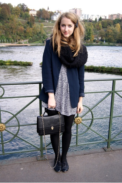 blue blazer - black dress - black accessories - black scarf
