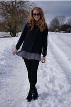 black  glasses - black Urban Outfitters boots - black vintage dress